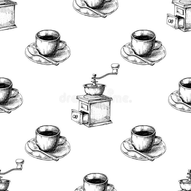 Moedor de café manual retro ou moinho e caneca de café em uns pires ilustração stock