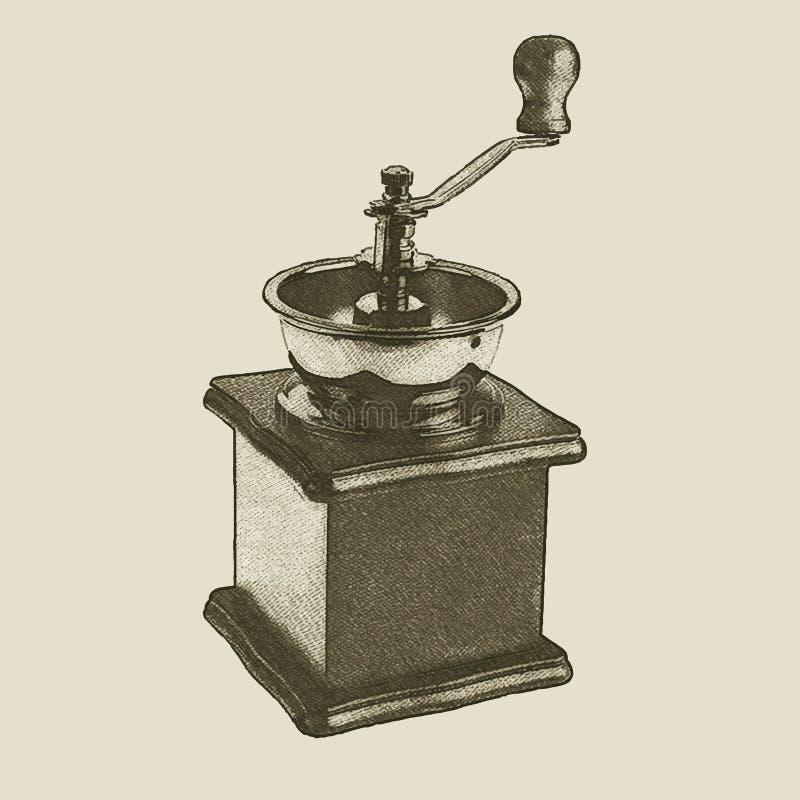 Moedor de café tirado mão do vintage ilustração do vetor