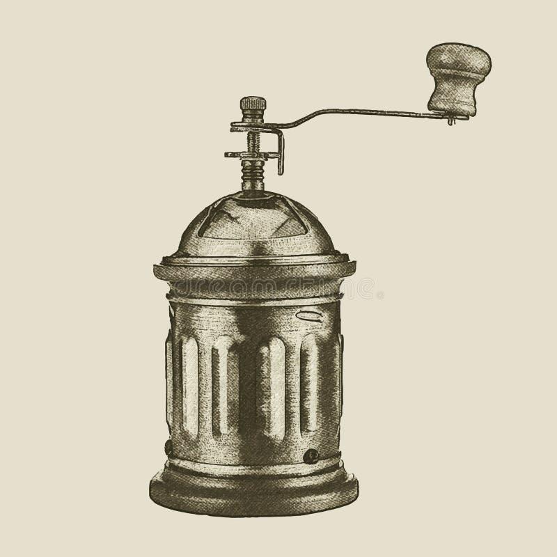 Moedor de café tirado mão do vintage ilustração stock