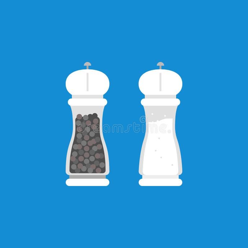 Moedor de pimenta e moedor de sal ilustração royalty free