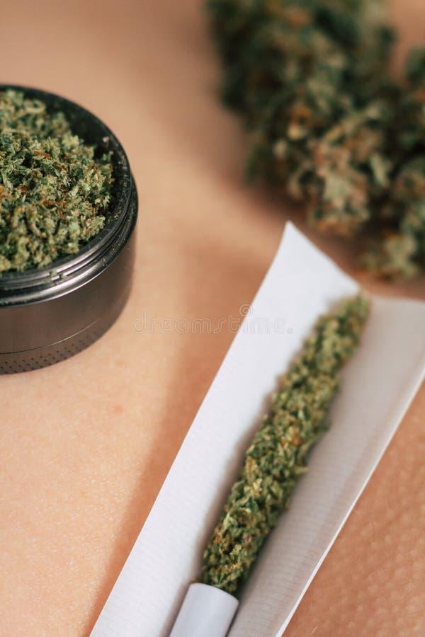 Moedor dos botões da erva daninha e do cannabis e junção não rolada no burro do ` s da menina Sexo e marijuana insta temático do  imagem de stock