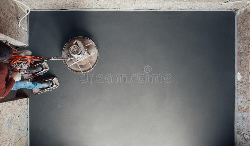 Moedura final do assoalho concreto, vista superior fotografia de stock royalty free