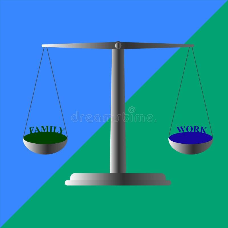 Moeilijke keus om tijd met familie of op het werk door te brengen vector illustratie