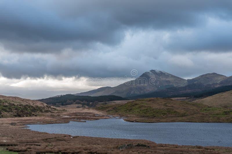 Moel Hebog山看法  Snowdonia国家公园在北部威尔士,英国 库存照片