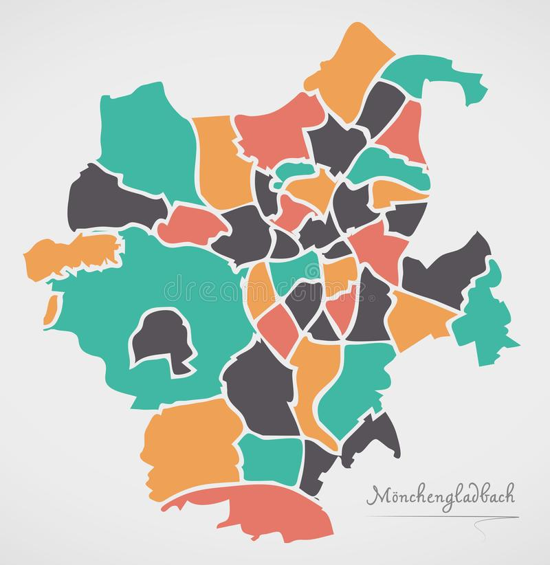 Moenchengladbach Map with boroughs and modern round shapes. Illustration royalty free illustration