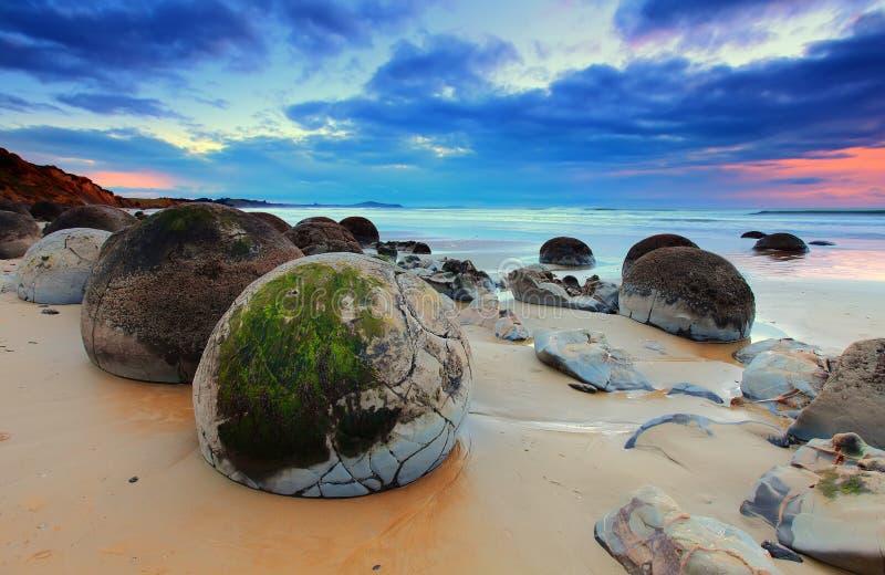 Moeraki冰砾,南方,新西兰 库存图片