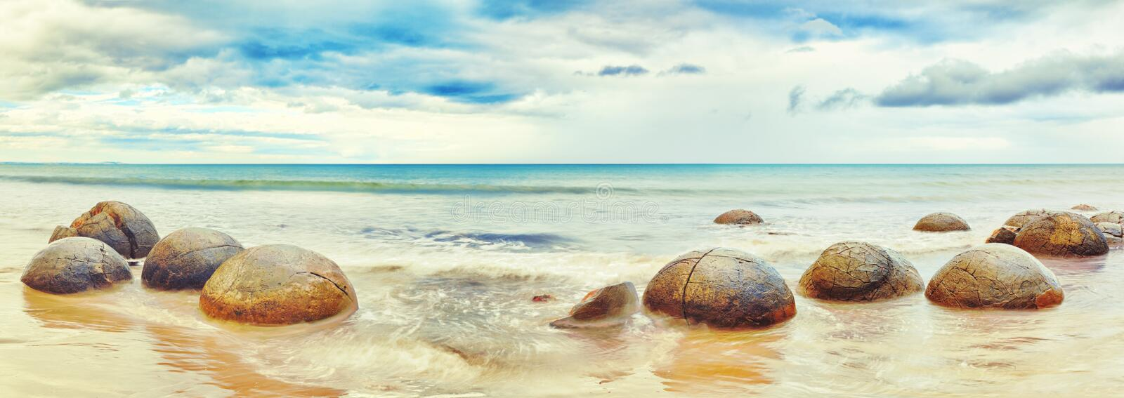 Moeraki Boulders. Panorama. New Zealand royalty free stock photo