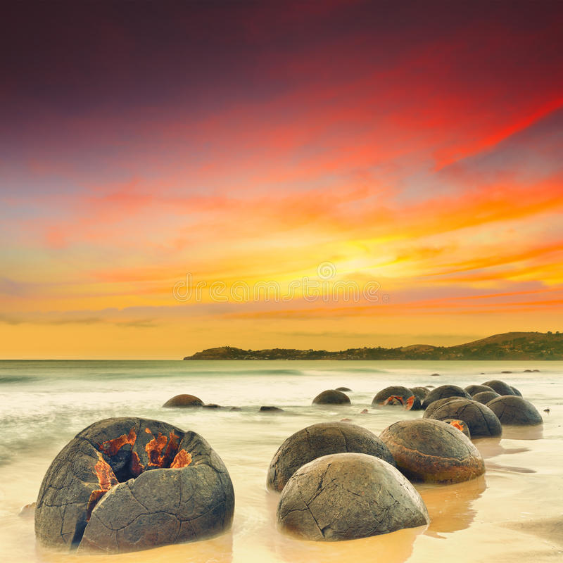 Moeraki Boulders. At sunset. New Zealand stock photography