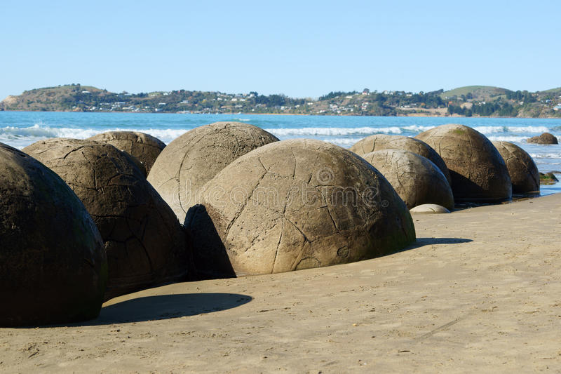 Moeraki boulders. Close up of Moeraki boulders in New Zealand royalty free stock photography