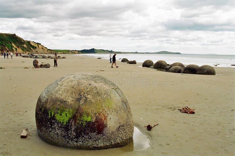 Moeraki Boulders, New Zealand stock photography