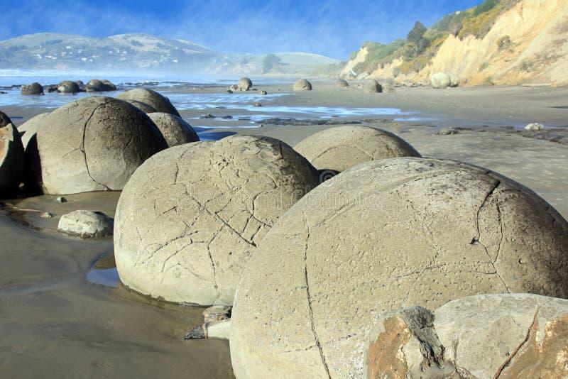 Moeraki Boulders NZ. Beautiful round Moeuaki Boulders on Otago coast of New Zealand stock photos