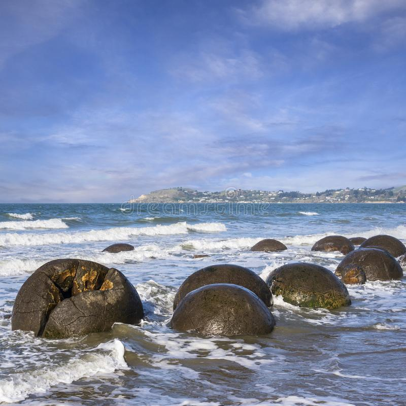 Moeraki Boulders, Otago, New Zealand,. On a fine spring day at high tide royalty free stock photo
