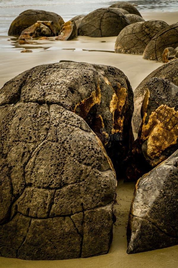 "Moeraki Boulders, Otago, New Zealand. The Moeraki Boulders are a group of very large spherical ""stones"" on Koekohe Beach near Moeraki on New Zealand royalty free stock photos"