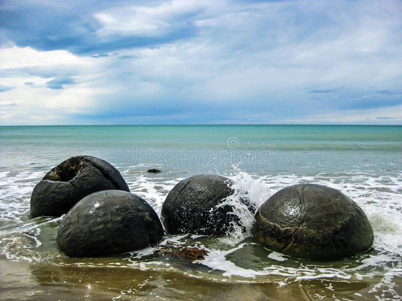 Moeraki Boulders. Unique geological feature of New Zealand the Moeraki Boulders stock image
