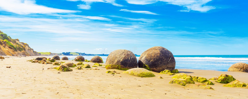Moeraki głazy na Koyokokha wyrzucać na brzeg w Otago regionie, Nowa Zelandia Odbitkowa przestrzeń dla teksta obrazy stock