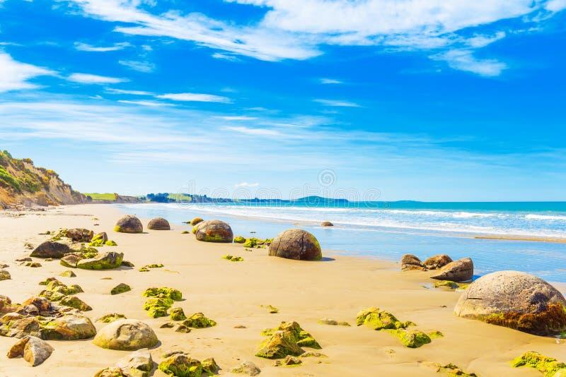 Moeraki głazy na Koyokokha wyrzucać na brzeg w Otago regionie, Nowa Zelandia Odbitkowa przestrzeń dla teksta obraz royalty free