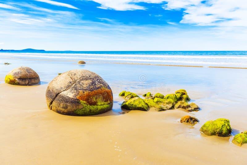 Moeraki głazy na Koyokokha wyrzucać na brzeg w Otago regionie, Nowa Zelandia Odbitkowa przestrzeń dla teksta obrazy royalty free