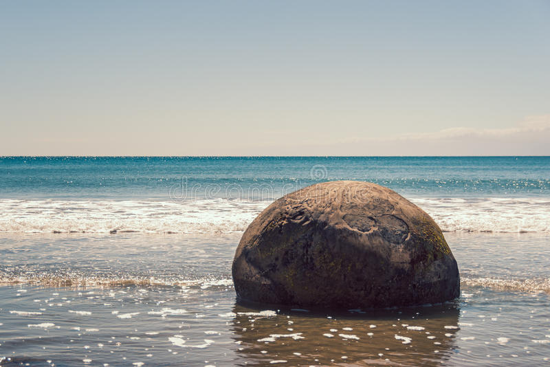 Moeraki stenblock, Nya Zeeland arkivfoton
