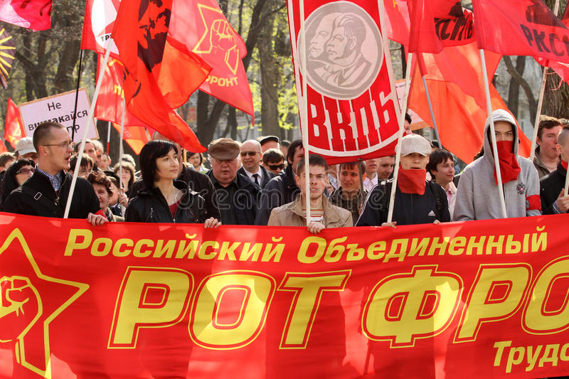Moeras anti-kapitalisme-2011 in Moskou. royalty-vrije stock foto