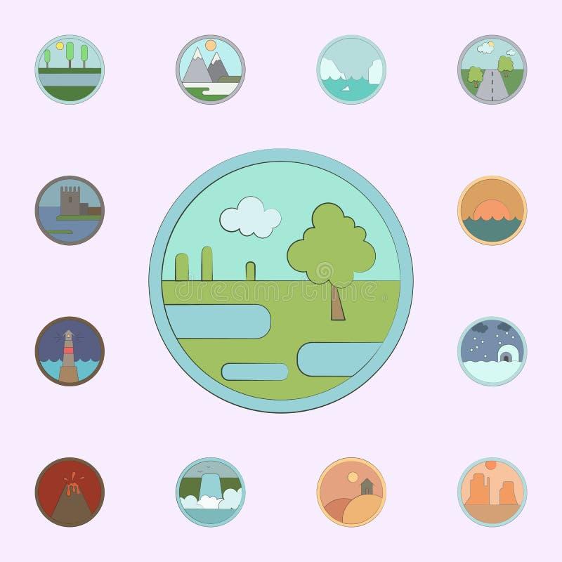 Moeras in cirkelpictogram dat wordt gekleurd voor Web wordt geplaatst dat en het mobiele algemene begrip van landschappenpictogra stock illustratie