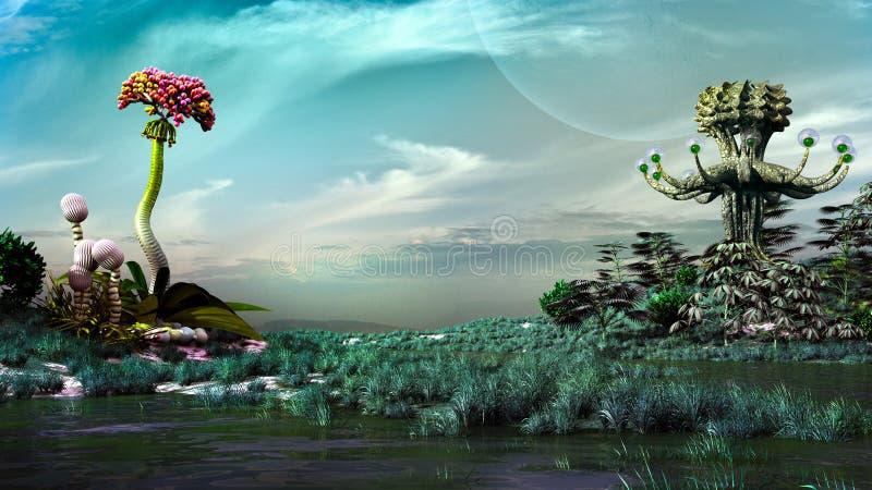 Moeras op een andere planeet stock illustratie