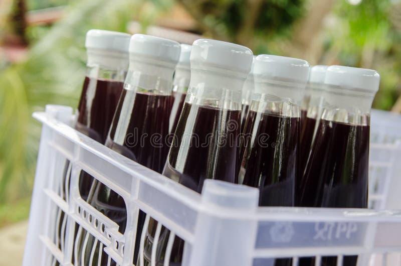 Moerbeiboomsap in flessendrank royalty-vrije stock foto's