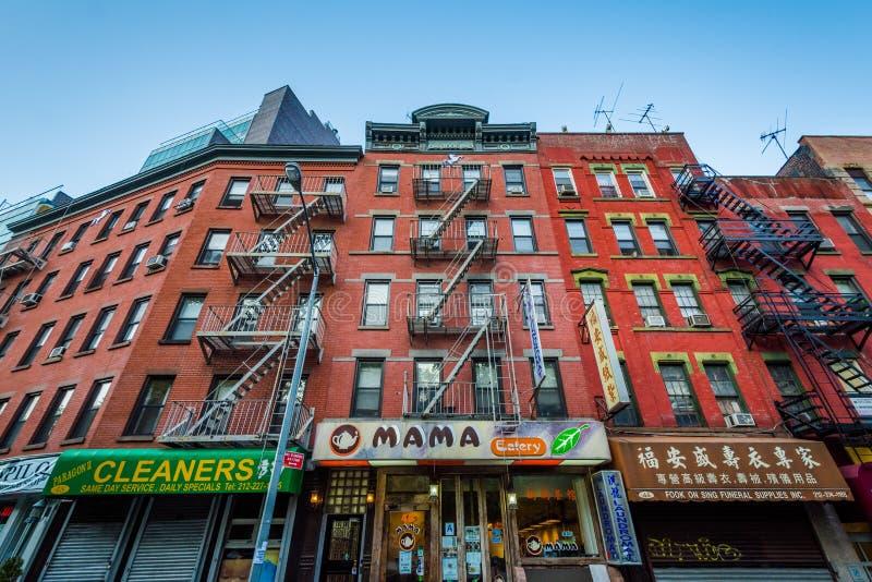Moerbeiboomstraat in Chinatown, de Stad in van Manhattan, New York stock afbeelding