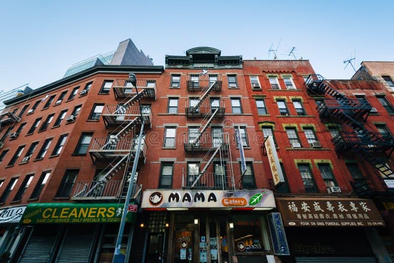 Moerbeiboomstraat in Chinatown, de Stad in van Manhattan, New York royalty-vrije stock fotografie