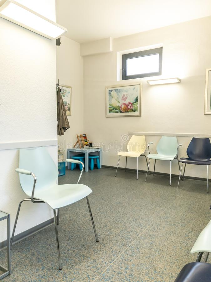 Empty waiting room of medical office stock photography