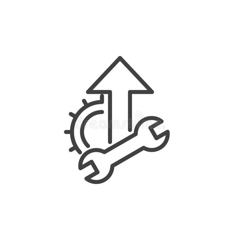 Moersleutel, tandrad en op het pictogram van de pijllijn, overzichts vectorteken, lineair die stijlpictogram op wit wordt geïsole royalty-vrije illustratie