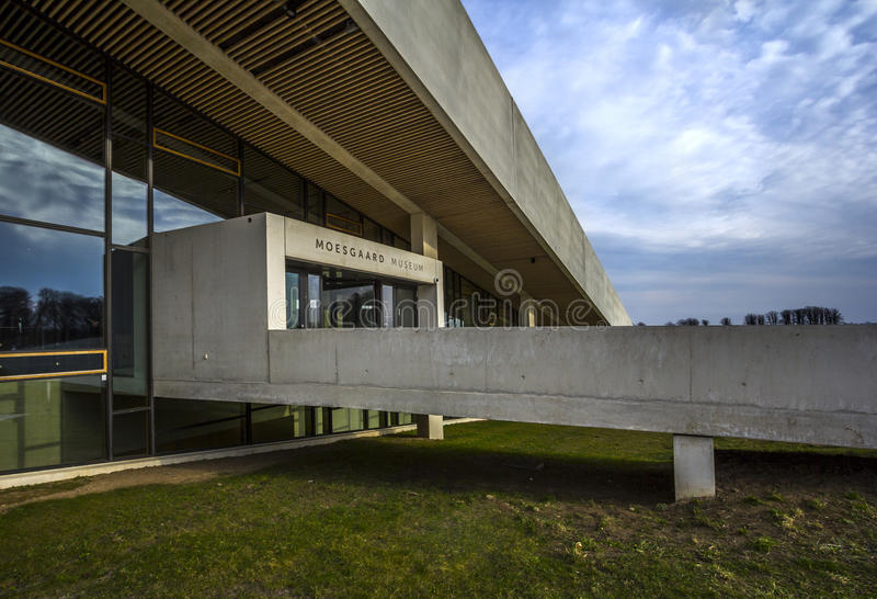 Moesgaard museum Aarhus Denmark exterior. The recently built Moesgaard Museum, which has granted great adulation for its outstanding architecture. This picture stock images