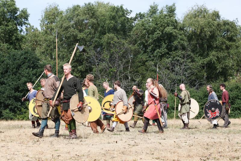 Moesgaard viking moot in Denmark. Hojbjerg, Denmark - July 29, 2018: Moesgaard viking moot is an annual historical reenactment event in Aarhus, Denmark with a royalty free stock photo