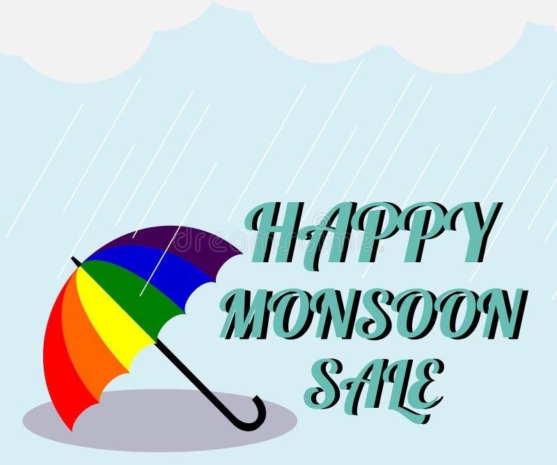 Moessonverkoop Vectorillustratie van kleurrijke paraplu in regenachtig seizoen Er is Verkoop `, gebruik van de woord` de Gelukkig vector illustratie