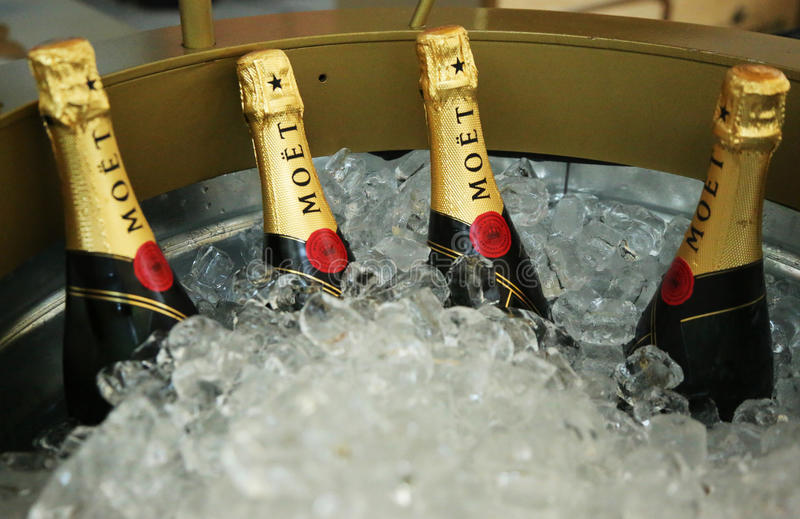 Moet and Chandon champagne presented at the National Tennis Center during US Open 2013. NEW YORK - AUGUST 27:Moet and Chandon champagne presented at the National royalty free stock images