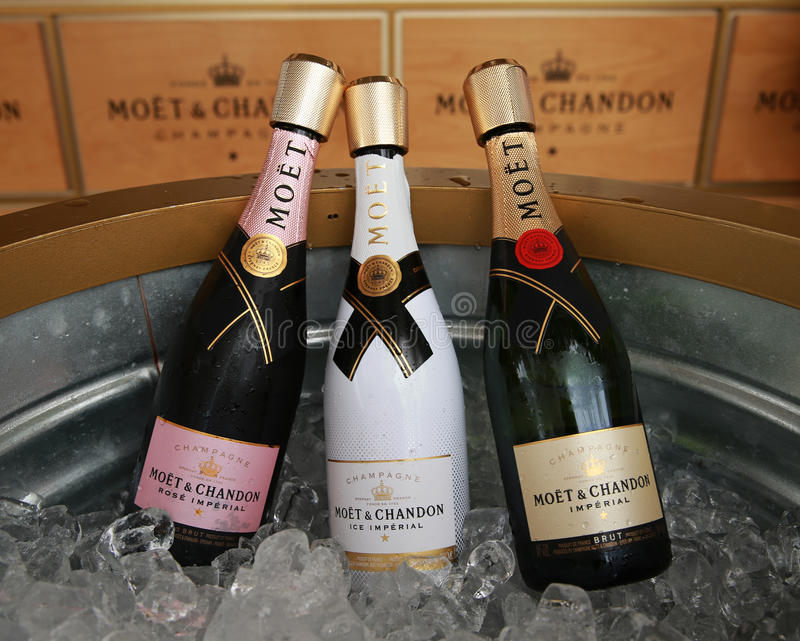 Moet and Chandon champagne presented at the National Tennis Center during US Open 2016. NEW YORK - SEPTEMBER 3, 2016: Moet and Chandon champagne presented at the stock photo