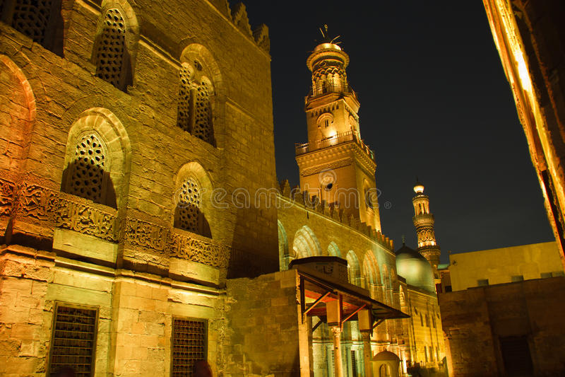 Moez Street, at night. Architecture of the Moez Street in Cairo, Egypt stock images