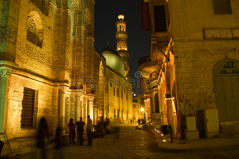 Moez Street, at night. Architecture of the Moez Street in Cairo, Egypt stock image