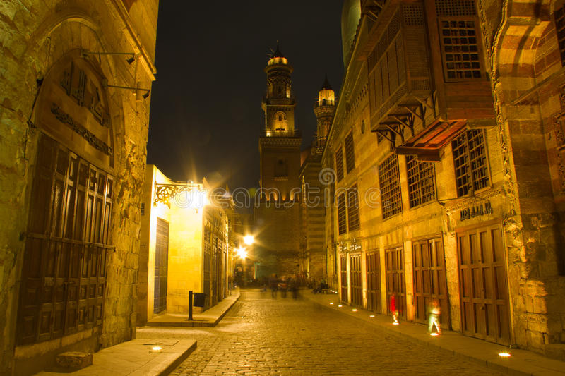 Moez Street, at night. Architecture of the Moez Street in Cairo, Egypt stock photo
