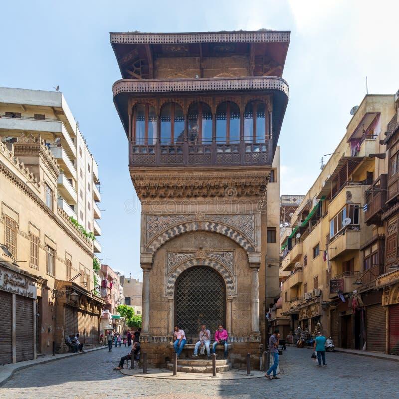 Moez Street with Sabil-Kuttab of Katkhuda historic building, Cairo, Egypt royalty free stock photos