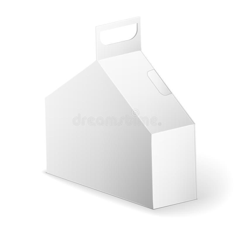 Mofa blanca de la caja del paquete del producto encima de la plantilla ilustración del vector