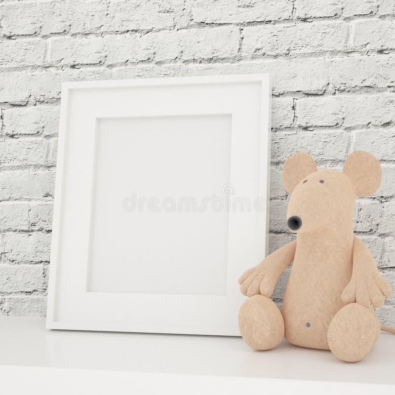 Mofa blanca del marco de la foto para arriba en sitio de niños imagen de archivo libre de regalías