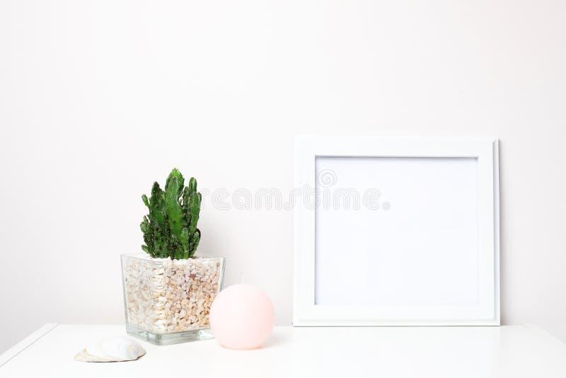 Mofa blanca del marco para arriba en un estante de librería en el fondo blanco imagen de archivo libre de regalías