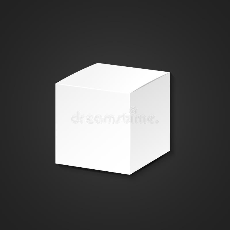 Mofa blanca del vector encima del ejemplo cúbico de papel en blanco de la caja de cartón del paquete realista con el diseño de la libre illustration