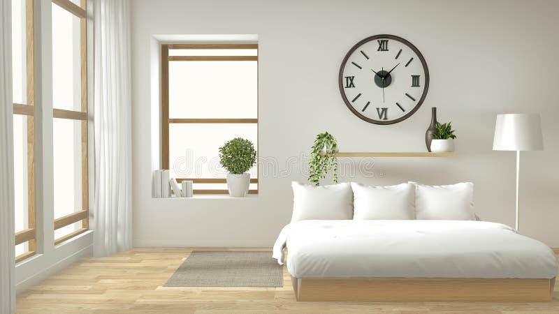 Mofa casera de la pared interior para arriba con la cama de madera, las cortinas y el estilo japonés de la decoración en diseño m stock de ilustración