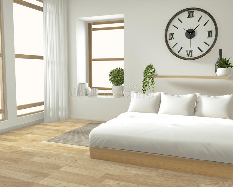 Mofa casera de la pared interior para arriba con la cama de madera, las cortinas y el estilo japonés de la decoración en diseño m ilustración del vector