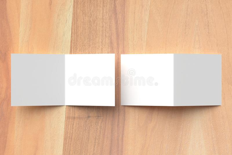 Mofa cuadrada plegable del folleto para arriba en fondo de madera illustra 3D imagen de archivo libre de regalías
