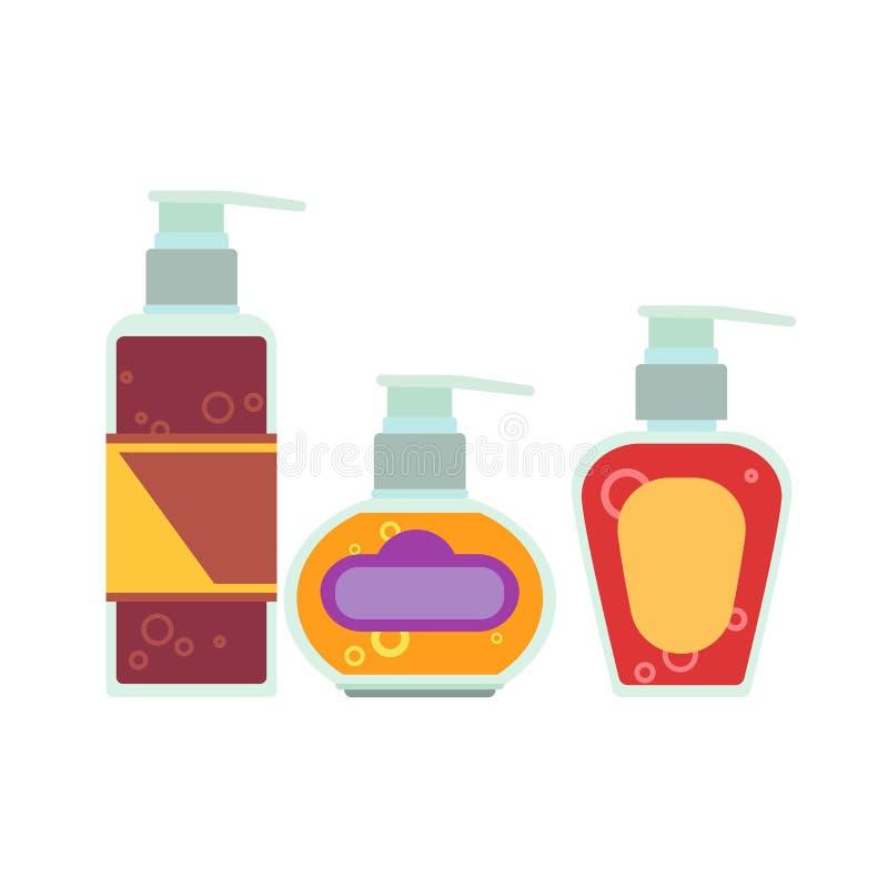 Mofa de empaquetado poner crema del vector de la botella cosmética encima del blanco del acondicionador ilustración del vector