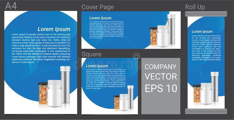 Mofa de la botella 3D encima de hacer publicidad el sistema de la plantilla Medicina realista Amber Packaging transparente para l stock de ilustración