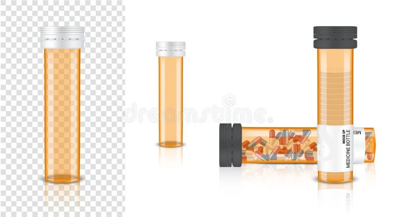 Mofa de la botella 3D encima de la medicina realista Amber Packaging transparente para la píldora de la cápsula y de la vitamina  libre illustration