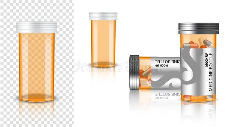 Mofa de la botella 3D encima de la medicina realista Amber Packaging transparente para la p?ldora de la c?psula y de la vitamina  libre illustration
